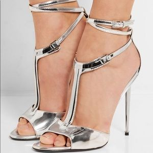 Tom Ford Silver Strappy Heels (rare)